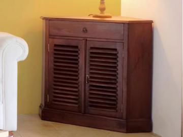 Mueble TV rinconero BALI II con espacio de almacenaje - Teca maciza - Color wengué