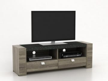 Mueble TV METEORITE - 2 huecos & 2 cajones - MDF superficie efecto granito