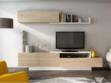 Mueble TV mural MONTY con espacios de almacenaje - Blanco y roble