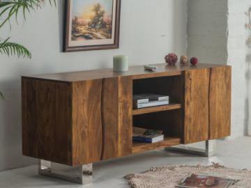 Mueble TV TUSTY - 2 puertas y 2 espacios - Acacia y metal