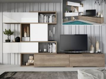 Mueble TV NICOSIA modulable con varios compartimentos - Castaño y blanco