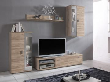 Mueble TV DYLAN con compartimentos - LEDs - Color: roble