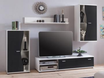 Mueble TV GARETT con compartimentos - Color: negro y blanco