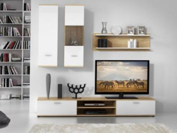 Mueble TV JEREMIAH con compartimentos - Color: Blanco y roble
