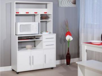 Aparador de cocina con ruedas ASTRID - 3 puertas, 2 cajones - Blanco