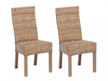 Conjunto de 2 sillas HEVEA II - Mimbre trenzado & Caoba
