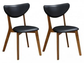 Conjunto de 2 sillas LISETTE - Hevea maciza y Piel sintética - Nogal y negro