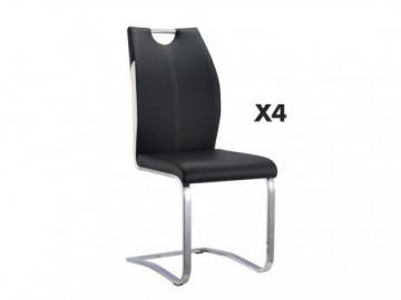Conjunto de 4 sillas WINCH - Piel sintética negra - Patas de metal cromado