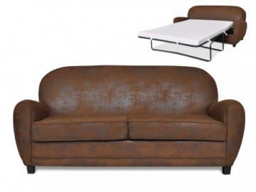 Sofá cama 3 plazas club RICKY de microfibra aspecto piel envejecida