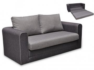 Sofá cama 2 plazas de tela DANUBE - Gris claro y Gris oscuro