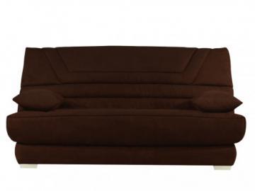 Sofá cama clic-clac de microfibra TULSA con colchón BULTEX  - Chocolate