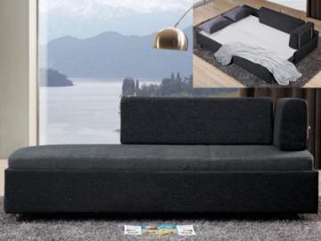 Chaise longue cama ONEIROS - Tela - Bicolor gris claro/gris antracita