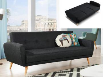 Sofá cama 3 plazas MAELO tapizado de tela - Gris antracita