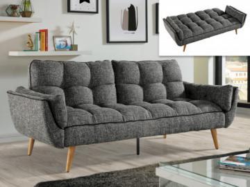 Sofá cama 3 plazas tapizado de tela OVILA - Negro