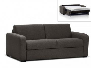 Sofá cama italiano de 3 plazas FLAVIEN tapizado de tela - Chocolate