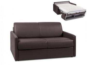 Sofá cama italiano de 2 plazas de piel sintética CALIFE - Chocolate - Cama 120 cm - Colchón 14cm