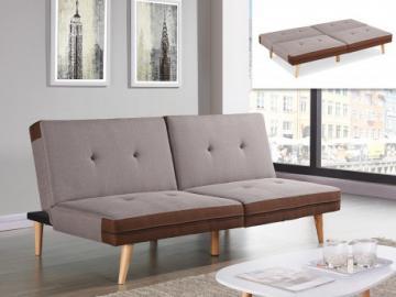 Sofá cama clic-clac de tela ALEC - Topo y bordes chocolate