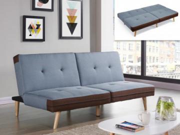 Sofá cama clic-clac de tela ALEC - Azul claro y bordes chocolate