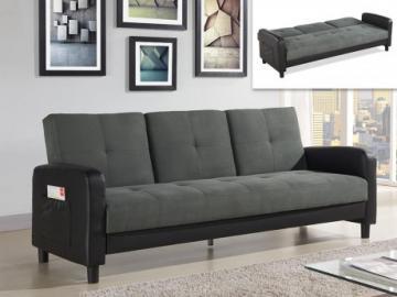 Sofá cama 3 plazas de microfibra y piel sintética DAILLY - Bicolor gris antracita y negro