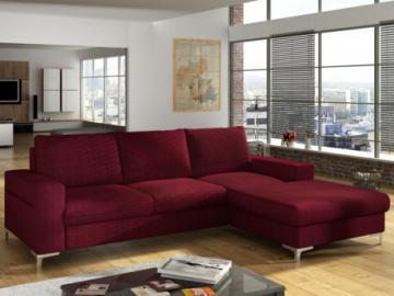 Sofá cama rinconero de tela CHONA - Rojo burdeos - Ángulo derecho