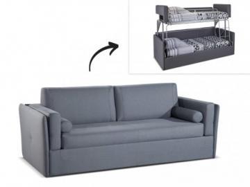 Sofá cama superpuesto 3 plazas de tela CHANA - Gris