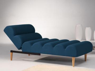 Chaise longue cama de tela CIVAL - Azul