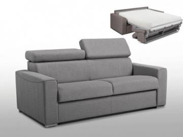 Sofá cama italiano 2 plazas de tela VIZIR - Gris - Cama 120cm - Colchón 22cm