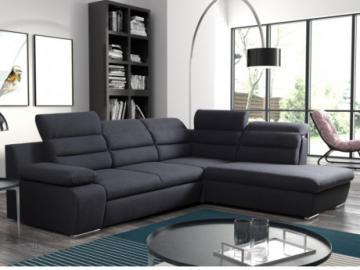 Sofá cama rinconero de tela PYLOS - Antracita - Ángulo derecho