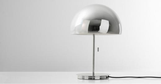 Collet, lampe de table, chrome
