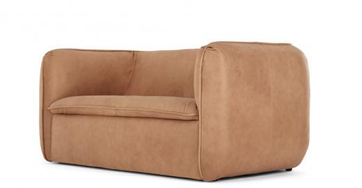 Berko, canapé 2 places, cuir brun