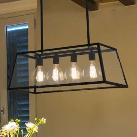 Suspension Rose quatre lampes au look industriel