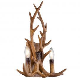 Applique à deux lampes Waleah, bois de cerf