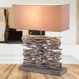 Jamie lampe à poser grise, base et décor bois