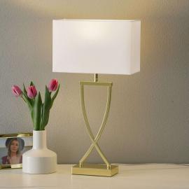 Lampe à poser textile Anni laiton poli - blanche