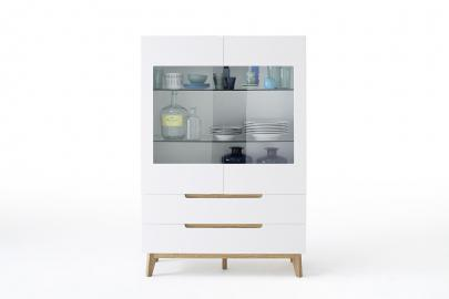 CERVO typ 46 – vitrine – 2 deux façades en verre – 2 tiroirs – 2 verre étagères – vernis mat finition