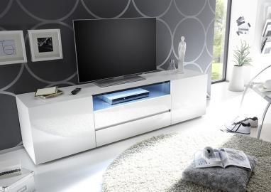 Vicenza 185-meuble bas de télévision – 2 portes – 2 tiroirs - haute brillance laqué - blanc - MDF