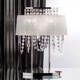Lampe à poser de cristal avec abat-jour de tissu