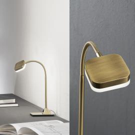 Lampe à poser LED flexible Tobias laiton vieilli
