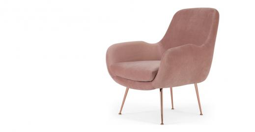 Moby, fauteuil d'appoint, velours rose vintage