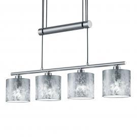 Suspension Garda 4 lampes abat-jour argentés