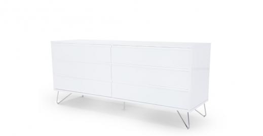 Elona, large commode, blanc brillant
