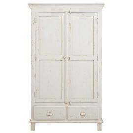 Armoire 2 portes 2 tiroirs en manguier blanc patiné Avignon