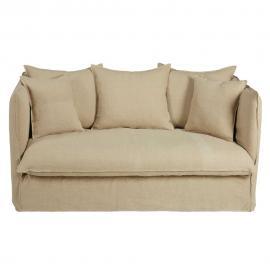 Canapé 2 places en lin lavé beige Louvre