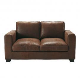 Canapé 2 places en suédine marron Kennedy