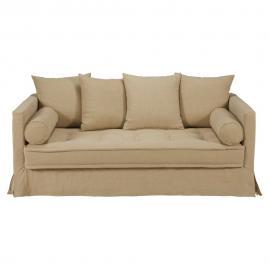 Canapé 3/4 places en lin lavé beige Matangi