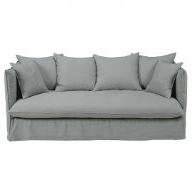Canapé 3/4 places en lin lavé gris clair Louvre