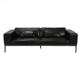 Canapé 4 places en cuir de vachette noir vieilli Wellington