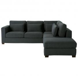 Canapé d'angle 5 places gris anthracite Milano