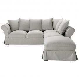 Canapé d'angle 6 places en coton gris Roma