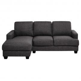 Canapé d'angle gauche 3/4 places en tissu gris chiné Philadelphie